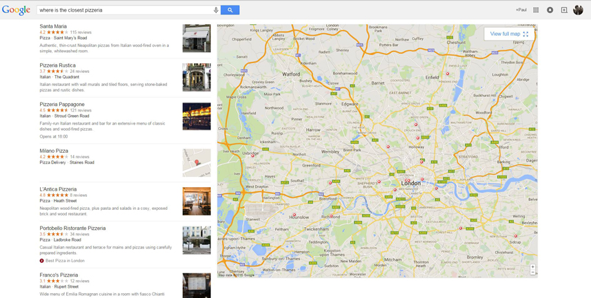where is the closest pizzeria? - Google query