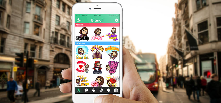 Bitmoji app on iOS device