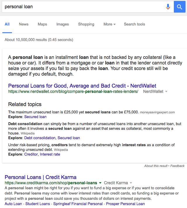 Extended google featured snippet | Personal loan