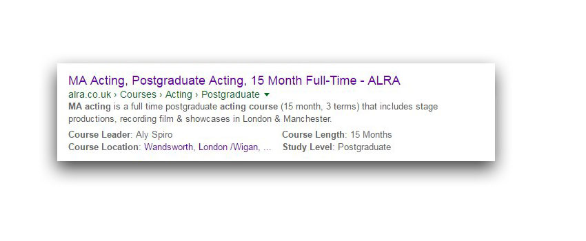 ALRA MA acting course, Google snippet