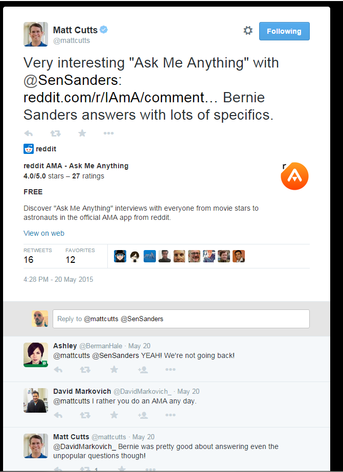 Matt Cutts Tweet on a US Senator