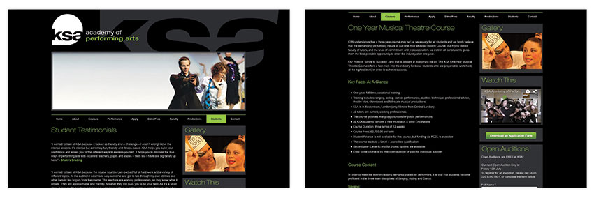Performing Arts Marketing & Brand Development for KSA Performing Arts, See Website Screenshot 2